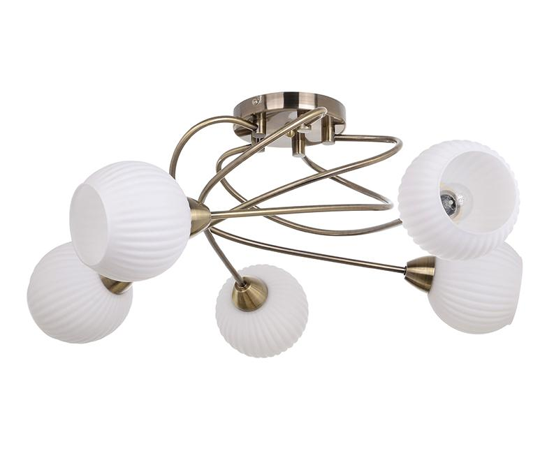 Lustra Pavia Fifth Antique Brass White
