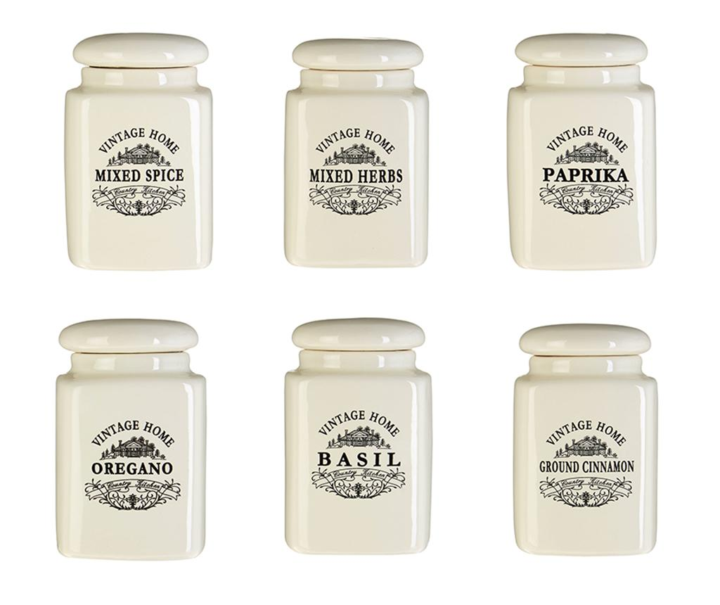 Set 6 recipiente cu capac pentru condimente Vintage Home Cream imagine