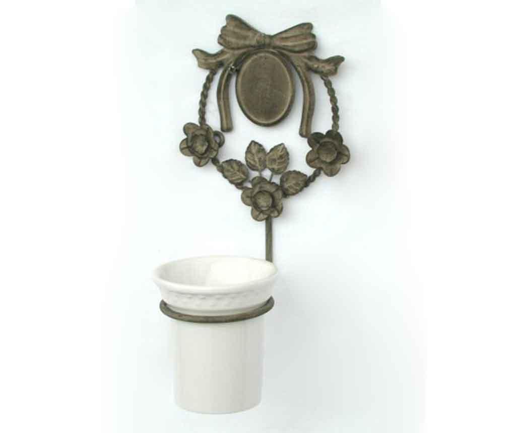 Pahar pentru baie cu suport Bicchiere - Bolzonella, Alb,Galben & Auriu