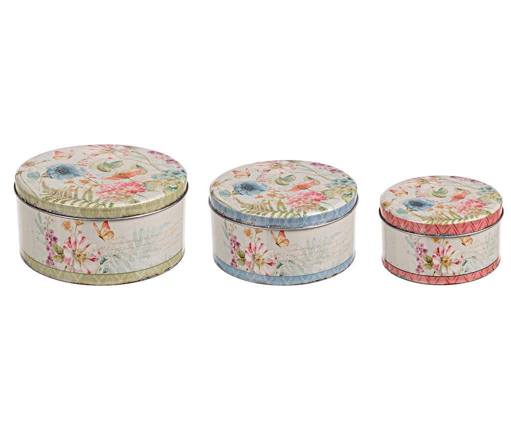 Set 3 cutii cu capac Poesia Blossom - Bizzotto poza