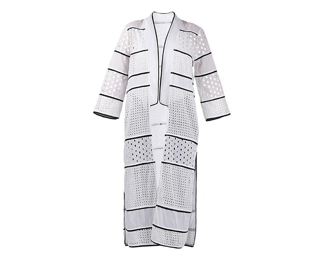 Kimono pentru plaja Banhi White Black L