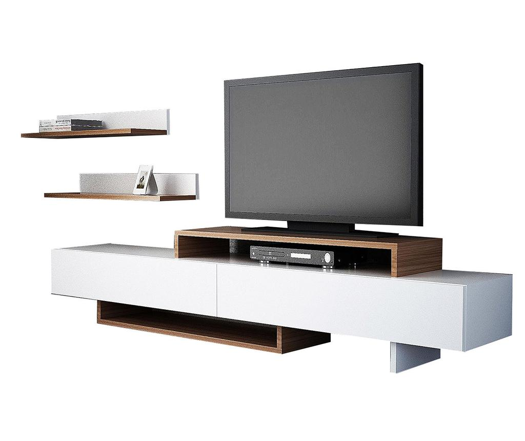 Set comoda TV si 2 polite Nirvana White