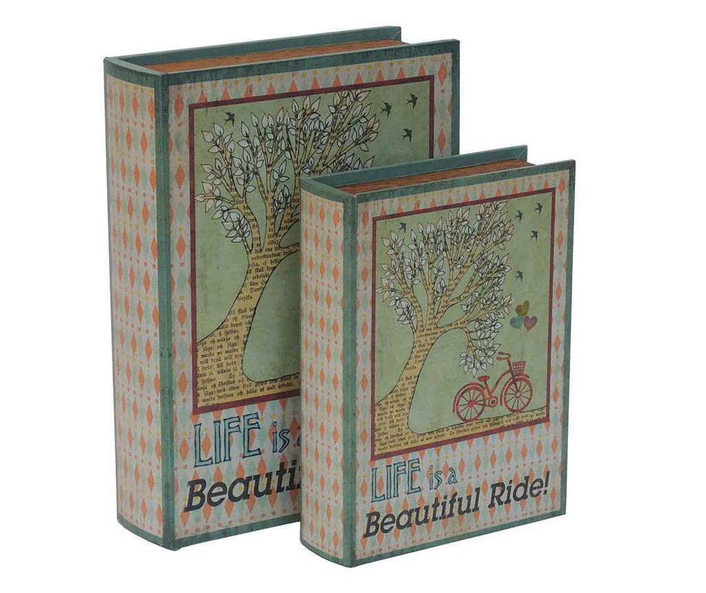 Set 2 cutii tip carte Beautiful Ride - Bolzonella, Multicolor