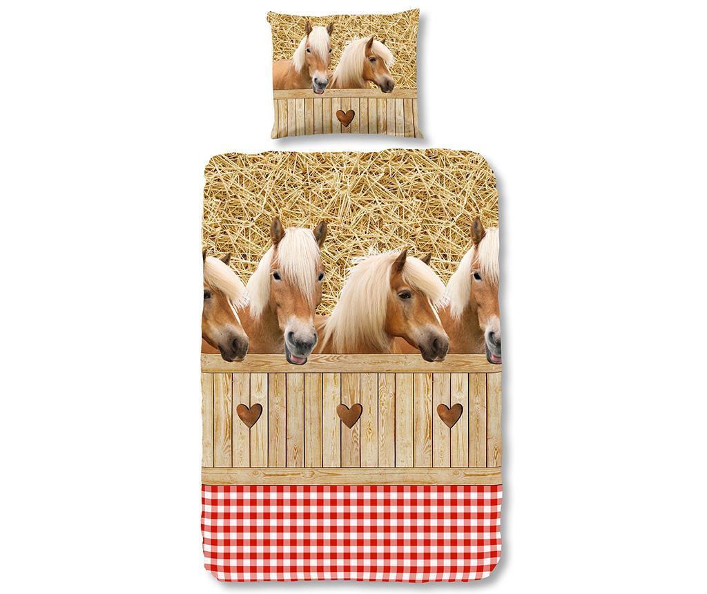 Set de pat Single Ranforce Country Horses imagine