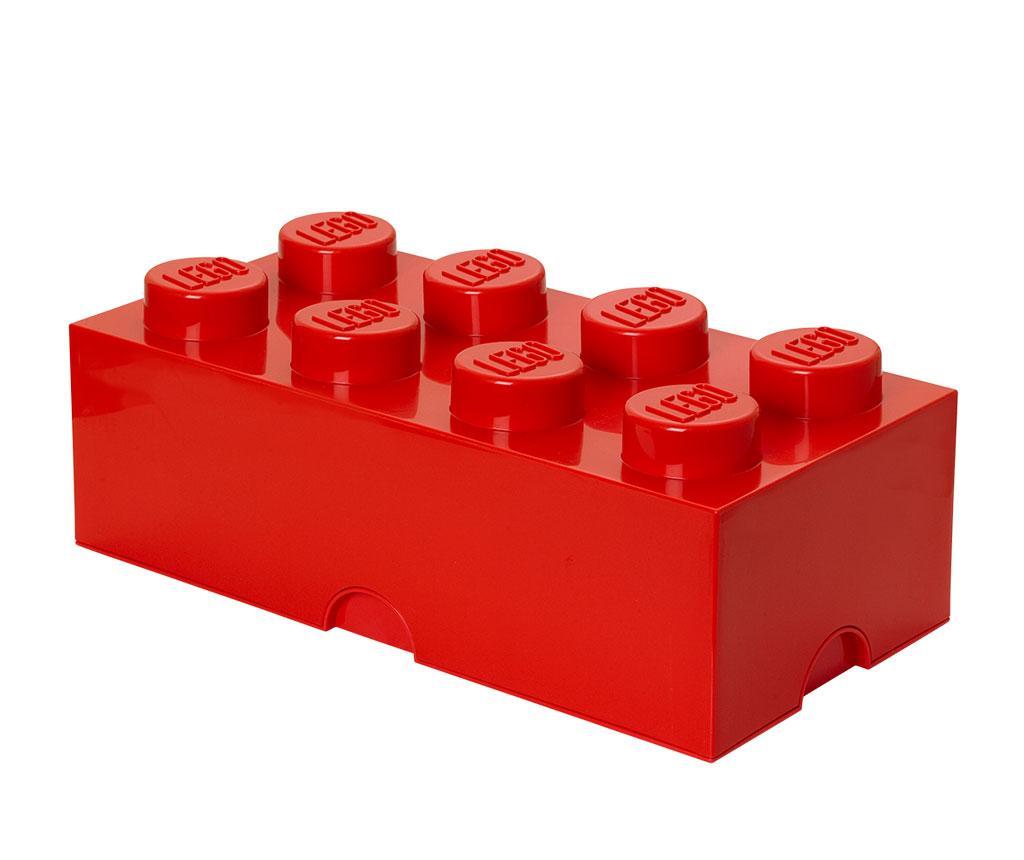 Cutie cu capac Lego Rectangular Extra Red - LEGO, Rosu imagine vivre.ro
