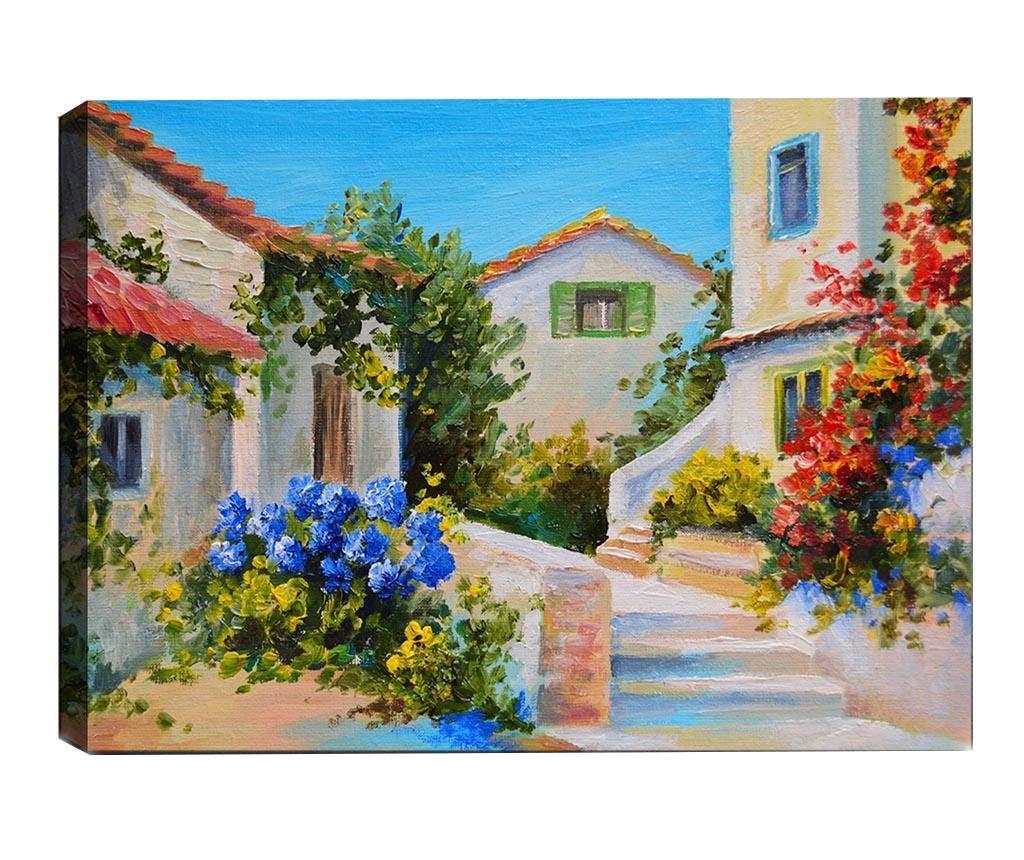 Tablou 3D Mediterranean Village 50x70 cm - Tablo Center, Multicolor imagine
