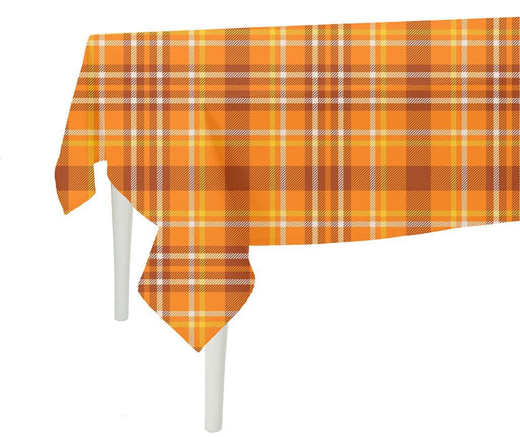 Fata de masa Orange Checks Plaid 140x220 cm - MIKE&Co, Portocaliu de la MIKE&Co