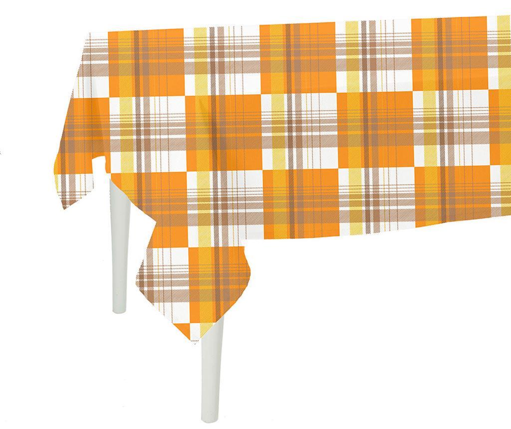 Fata de masa Orange Checks 140x300 cm - MIKE&Co, Portocaliu de la MIKE&Co
