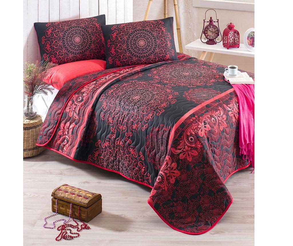 Set cuvertura matlasata Double Sehri Ala Red - Eponj Home, Negru,Rosu imagine
