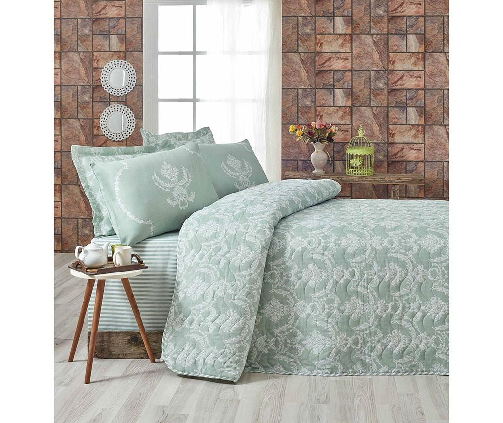 Set cuvertura matlasata Single Pure Water Green - Eponj Home, Verde imagine