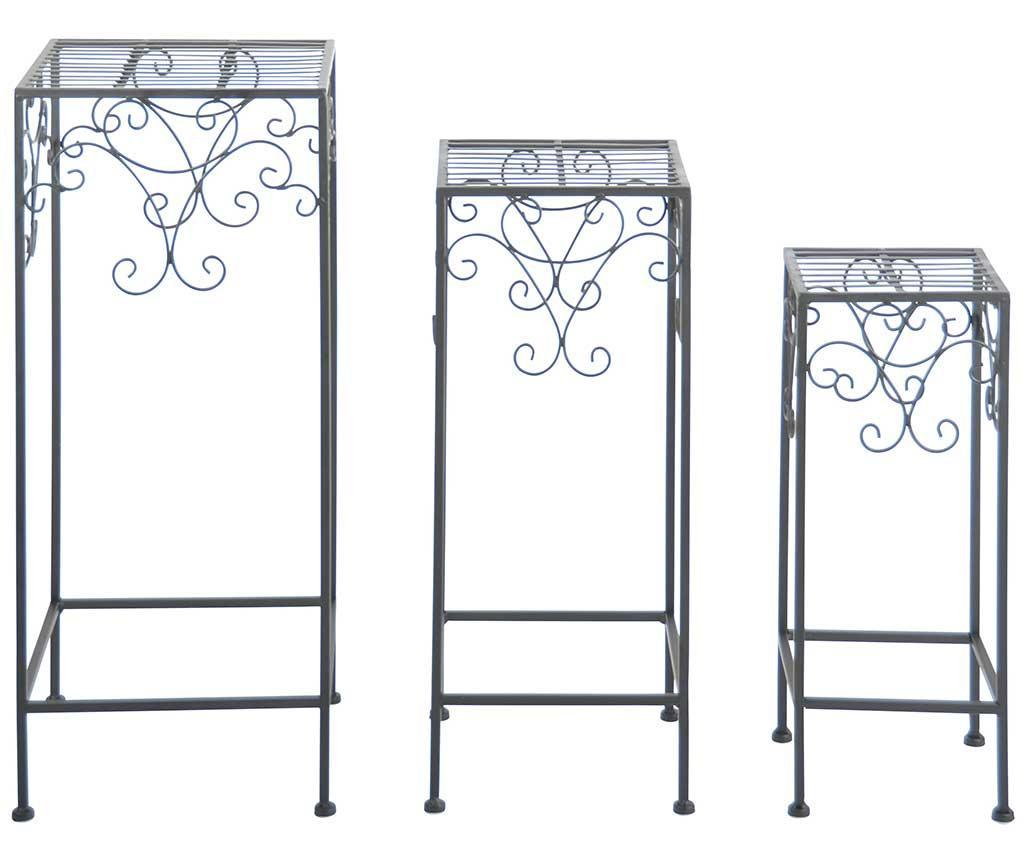 Set 3 suporturi pentru ghiveci Elon - Esschert Design, Negru imagine