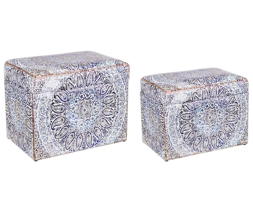 Set taburet si taburet pentru picioare Iole - Bizzotto, Albastru imagine