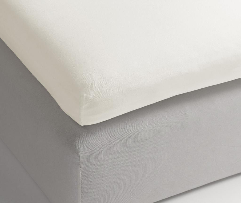 Cearsaf cu elastic pentru saltea aditionala Satin Off White 180x220 cm - Heckett & Lane, Alb vivre.ro