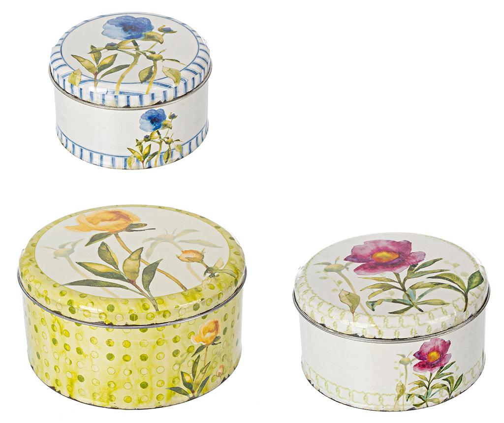 Set 3 cutii cu capac Acquarello Round imagine