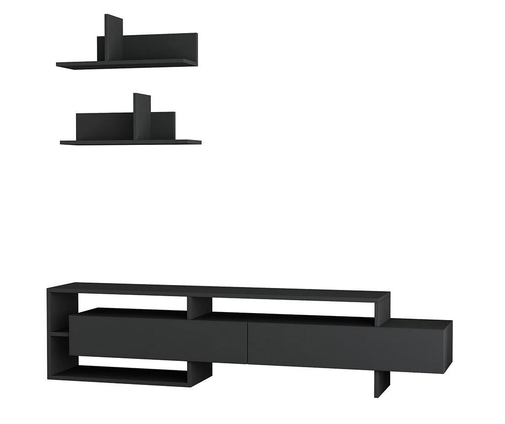 Set comoda TV si 2 polite Gara Anthracite - Homitis, Gri & Argintiu imagine