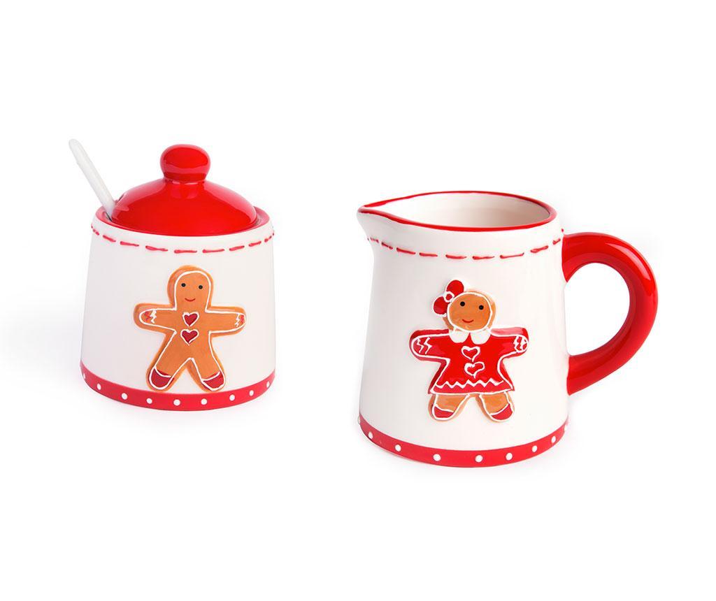 Set latiera si zaharnita cu lingurita si capac Gingerbread Boy and Girl imagine
