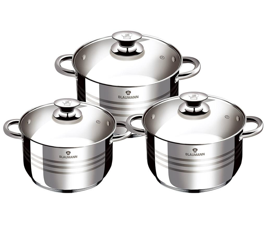Set vase pentru gatit 3 piese Gourmet - Blaumann, Gri & Argintiu imagine