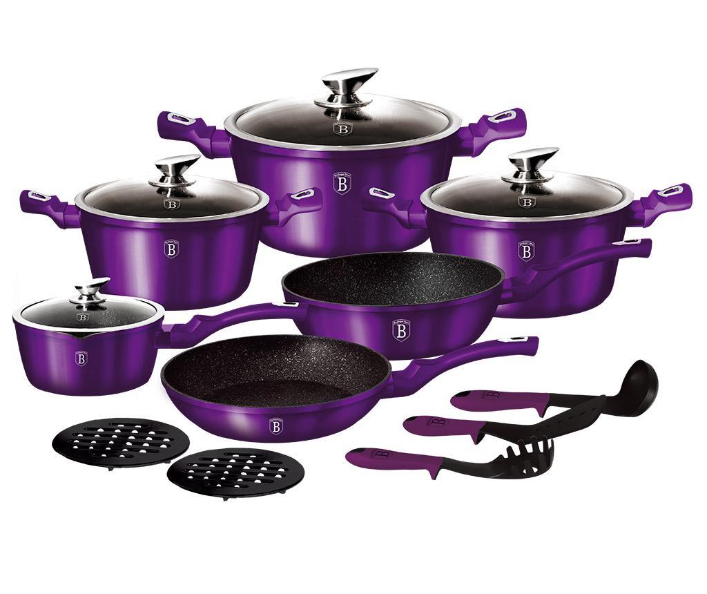 Set vase pentru gatit 15 piese Metallic Royal Purple
