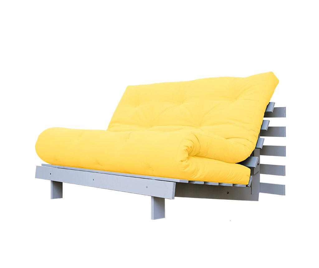 Sofa extensibila Roots White and Amarillo 140x200 cm vivre.ro