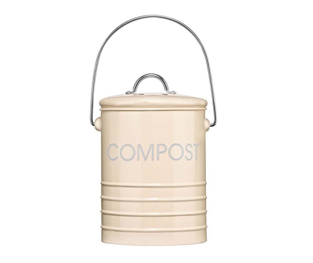Recipient cu capac pentru compost Ridges Cream 2.5 L imagine