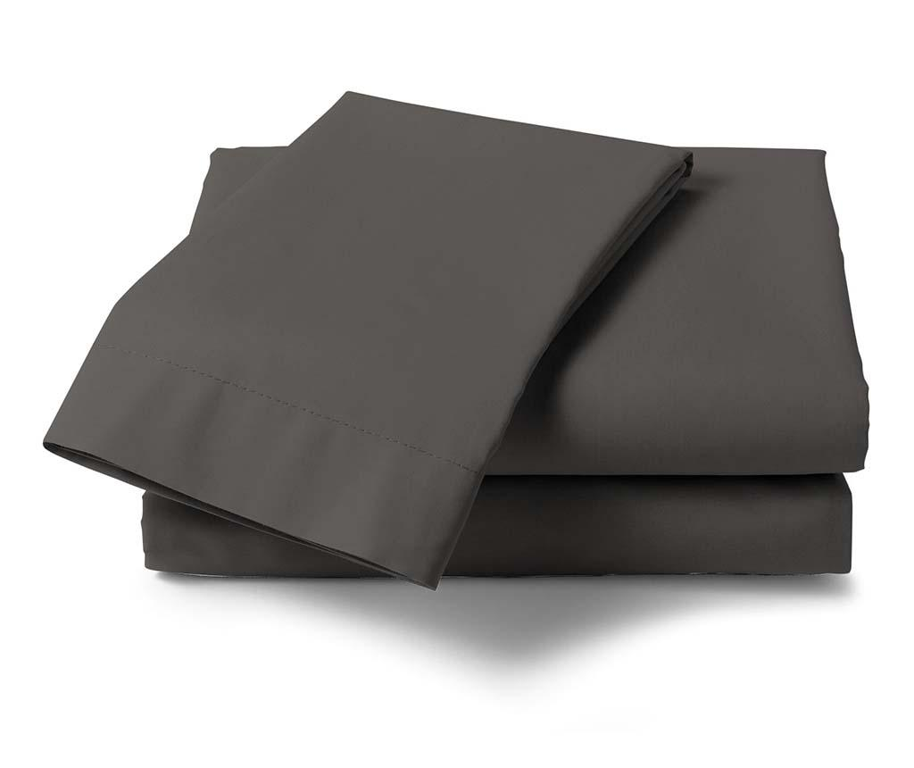 Cearsaf de pat Satin Saty Dark Grey 270x290 cm - Heckett & Lane, Gri & Argintiu imagine vivre.ro
