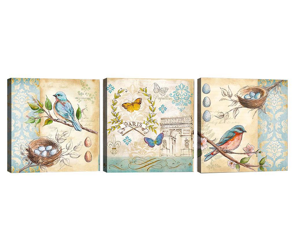 Set 3 tablouri Spring Spirit 30x30 cm - Tablo Center, Crem imagine