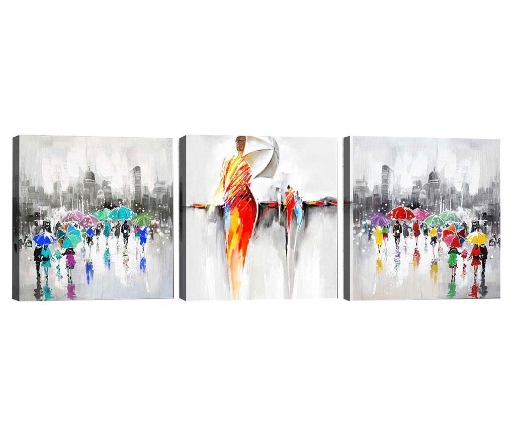 Set 3 tablouri Dancing in the Rain 30x30 cm - Tablo Center, Multicolor imagine