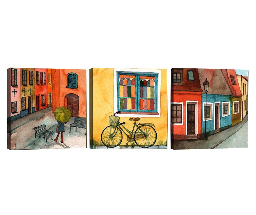 Set 3 tablouri City Vibe 30x30 cm - Tablo Center, Multicolor imagine