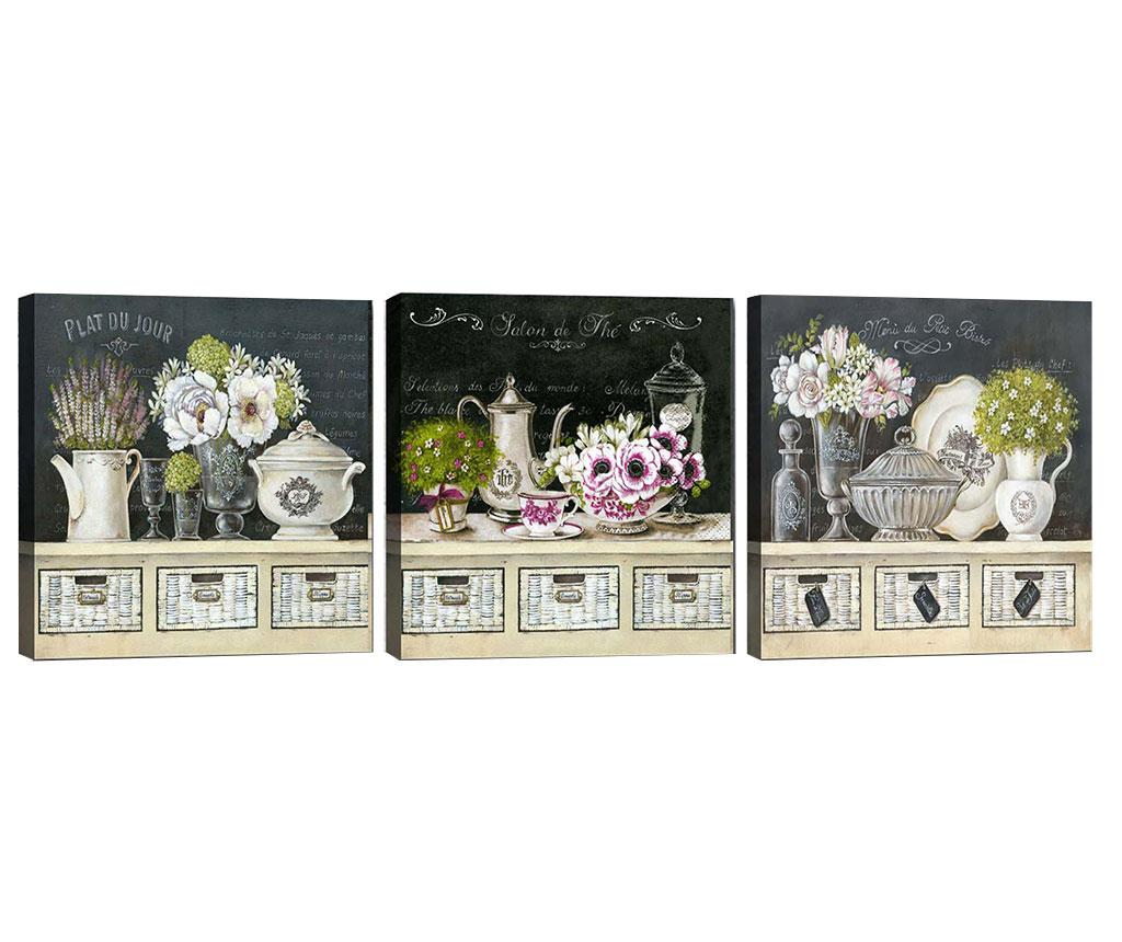 Set 3 tablouri Salon de The 30x30 cm