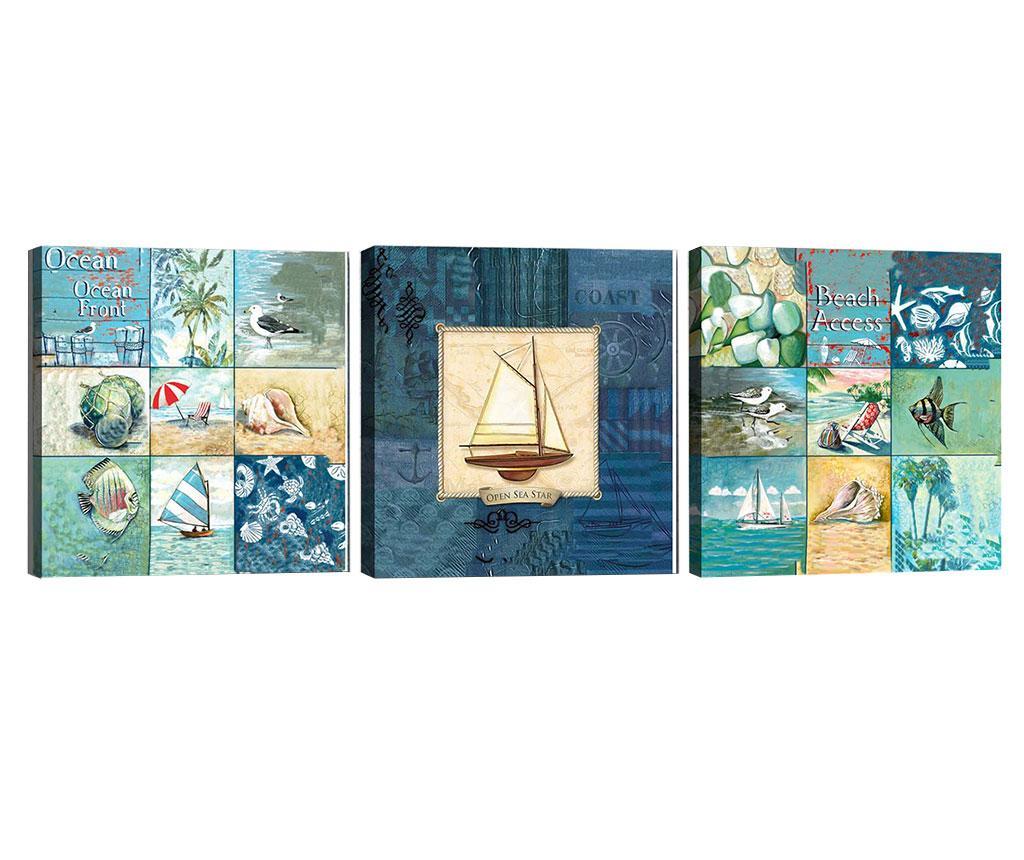 Set 3 tablouri Ocean Front 30x30 cm - Tablo Center, Albastru imagine