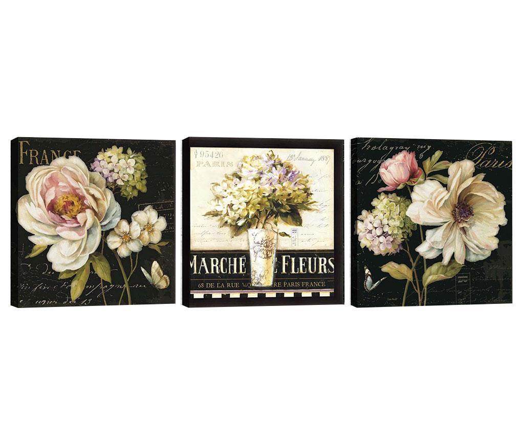 Set 3 tablouri Marche de Fleurs 30x30 cm