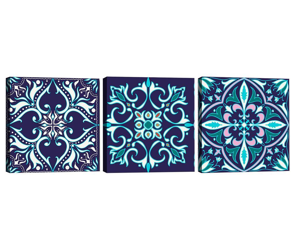Set 3 tablouri Mandala Blue 30x30 cm imagine