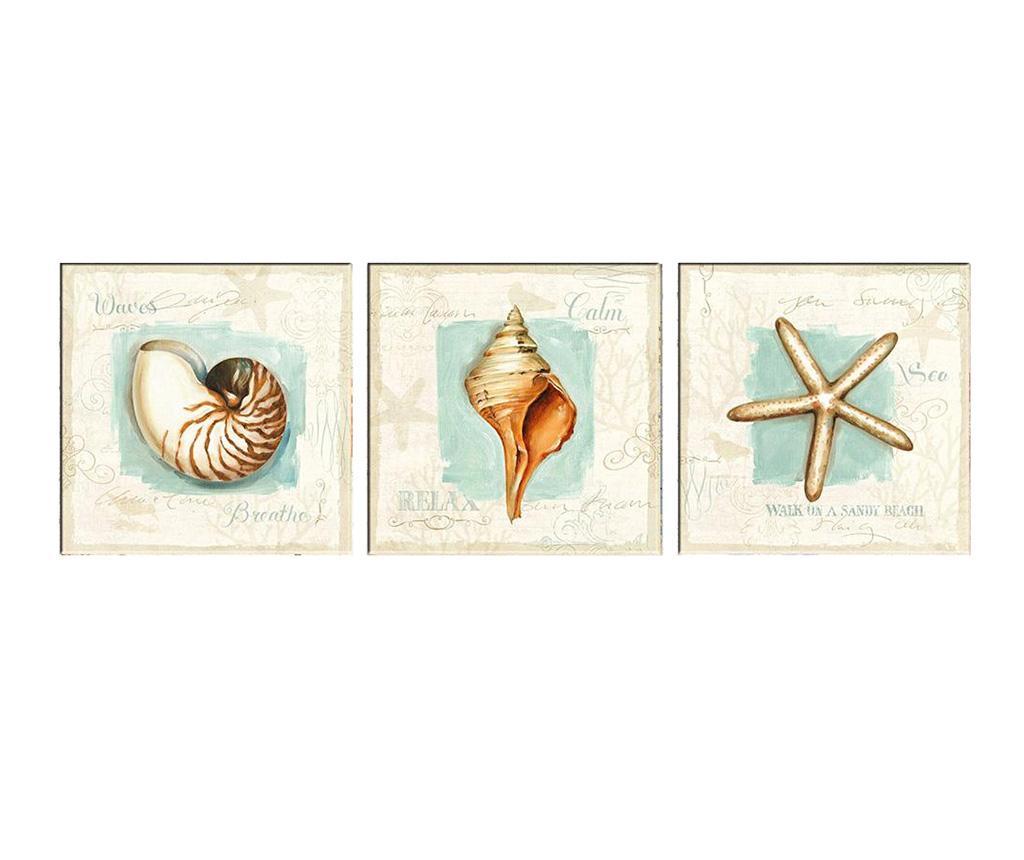 Set 3 tablouri Sea Calm 30x30 cm - Tablo Center, Alb imagine