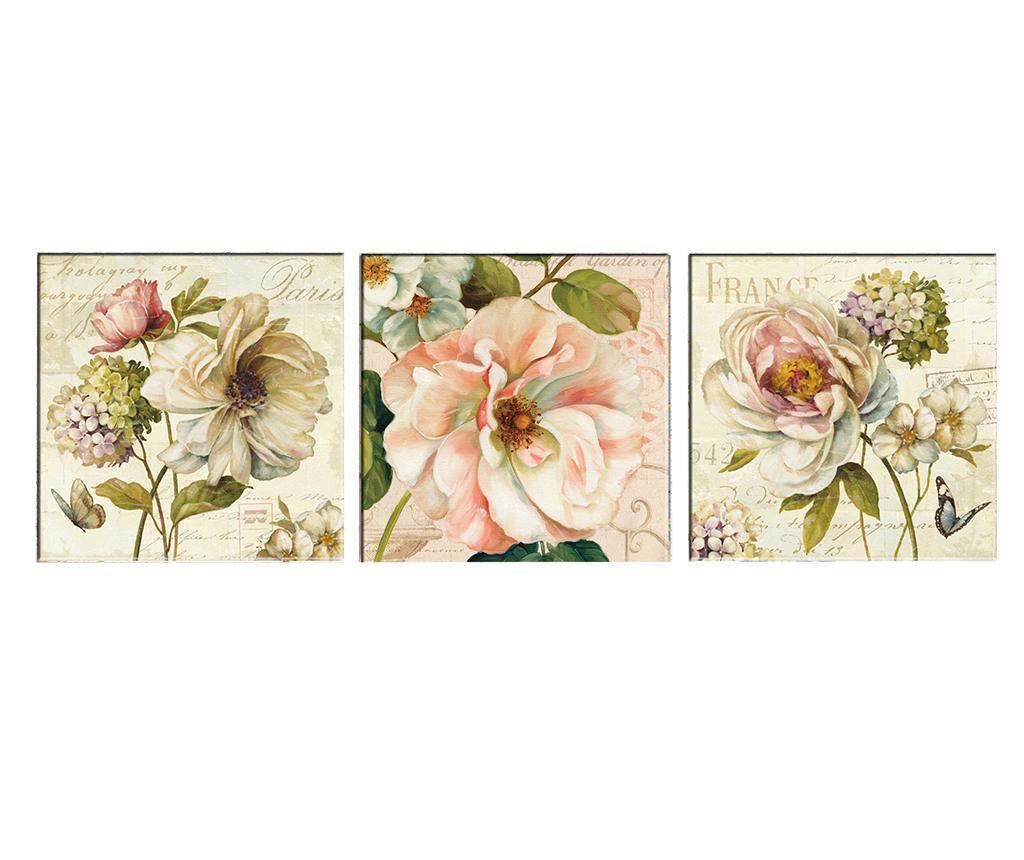 Set 3 tablouri France Fleur 30x30 cm - Tablo Center imagine