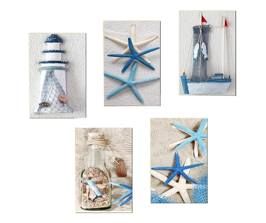 Set 5 tablouri Blue Sea 20x30 cm - Tablo Center, Albastru,Gri & Argintiu imagine