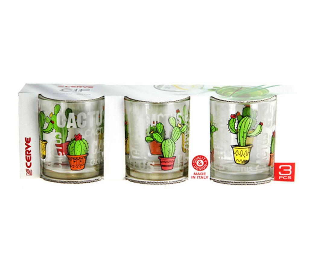 Set 3 pahare Cactus 250 ml