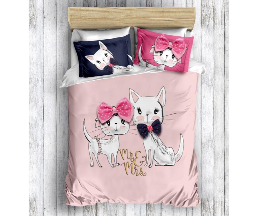 Lenjerie de pat King Ranforce Cats - The Club Cotton, Multicolor imagine vivre.ro