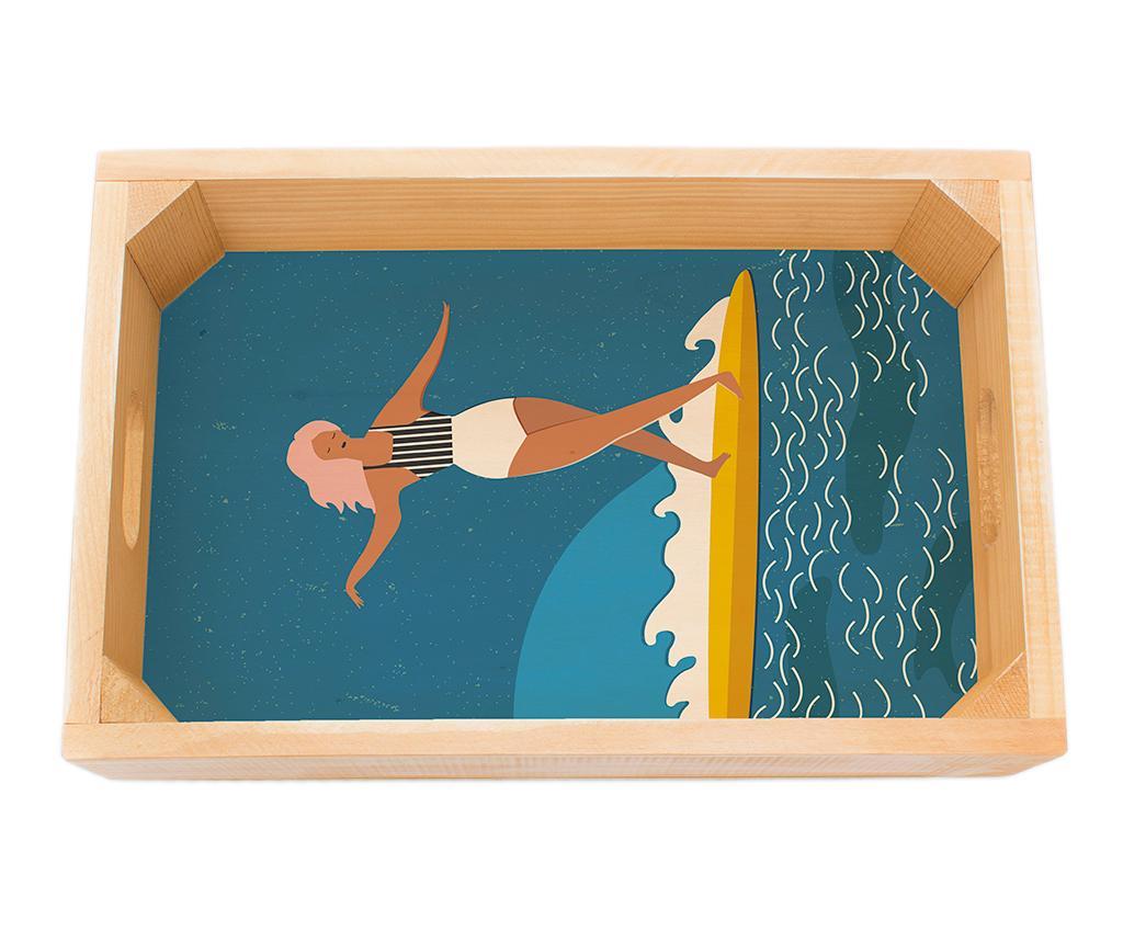 Tava pentru servire Surfer Girl - Really Nice Things, Crem,Albastru poza
