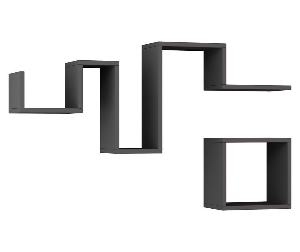 Set 2 rafturi de perete Follow Anthracite - Homitis, Gri & Argintiu
