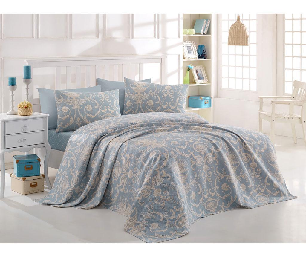 Lenjerie de pat Double Pique Tuval Blue 200x235 - Eponj Home, Albastru poza