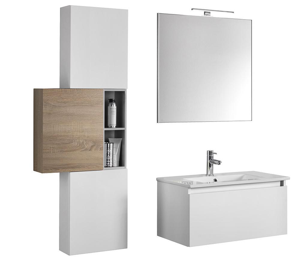 Set mobilier pentru baie 7 piese Ibiza Trio White and Light Tobacco - TFT Home Furniture, Alb