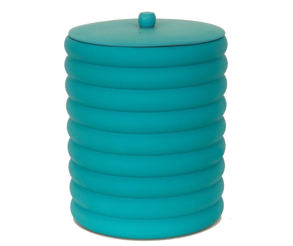 Cos de gunoi cu capac Waves Turquoise 5 L - Irya, Albastru