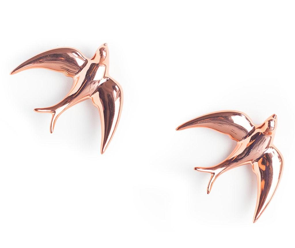 Set 2 decoratiuni de perete Swallows Pink Pearl - Surdic, Roz poza