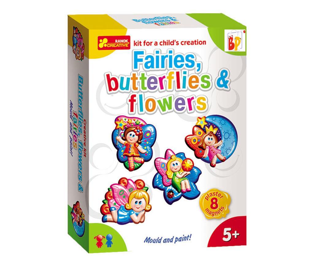 Kreativní sada 8 magnetů Fairies Butterflies Flowers