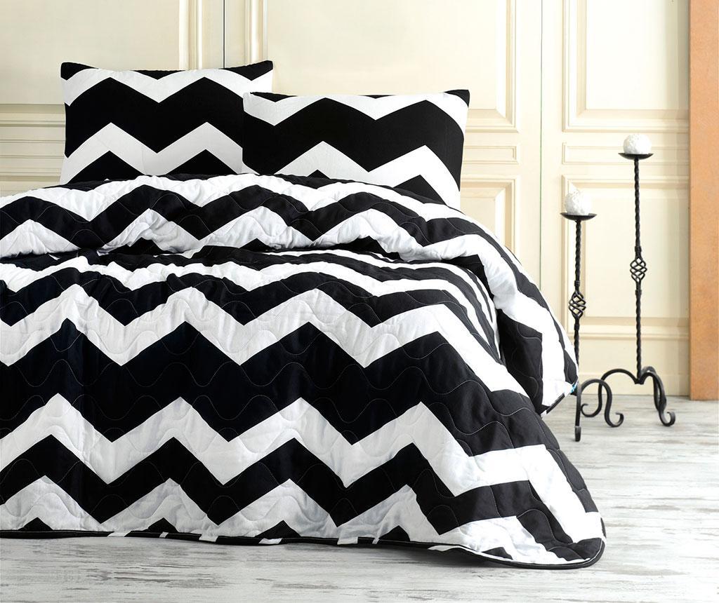 Set cuvertura matlasata Double Big Zigzag - EnLora Home, Alb,Negru imagine