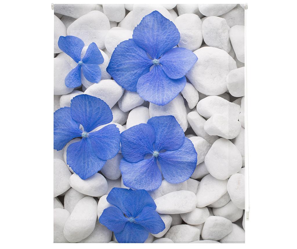 Jaluzea tip rulou Pebbles and Flowers 120x180 cm - Blindecor, Albastru,Gri & Argintiu imagine