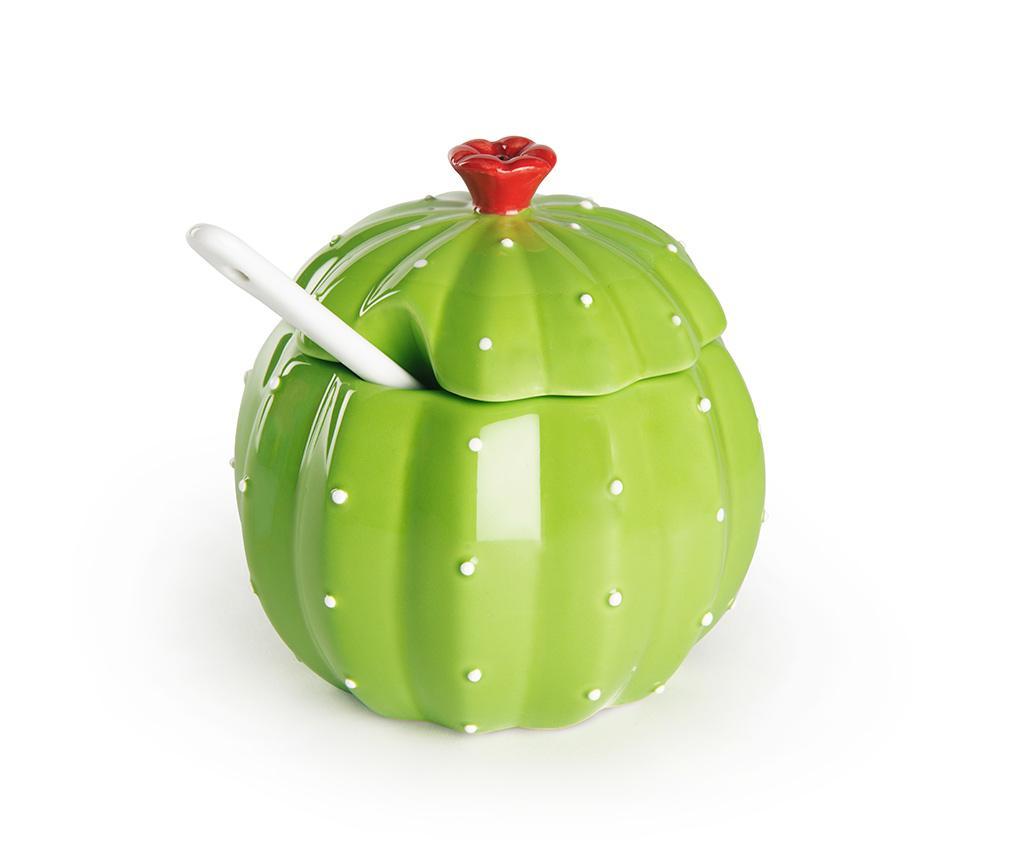 Zaharnita cu capac si lingurita Cactus - Excelsa, Verde