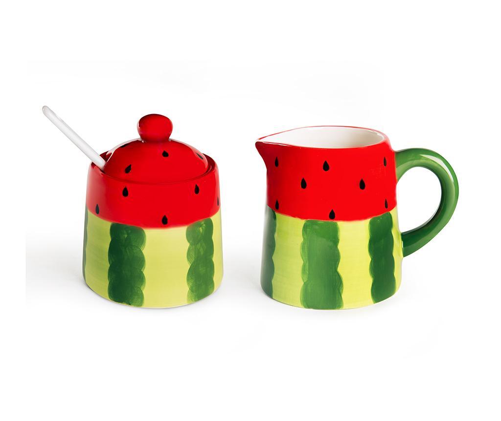 Set latiera si zaharnita cu capac Watermelon - Excelsa, Verde poza