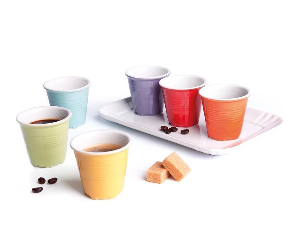 Set 6 pahare pentru cafea si tava Cup Shot - Excelsa, Multicolor poza