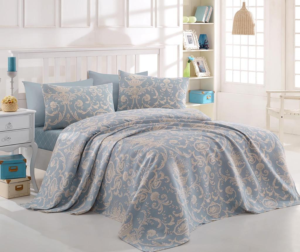 Cuvertura Pique Tuval Blue 200x235 cm - EnLora Home, Albastru de la EnLora Home